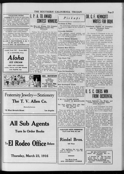 The Southern California Trojan, Vol. 7, No. 91, March 23, 1916