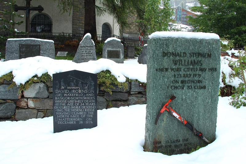 Tombstones in the main cemetery of Zermatt pay homage to many climbers who perished on the slopes of nearby peaks such as the Matternorn.