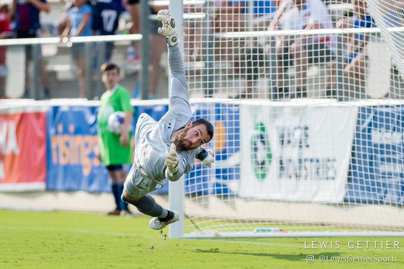 Nashville SC goalkeeper Matt Pickens (18) fails to make a save on a free kick by North Carolina FC forward Daniel Rios (not pictured)