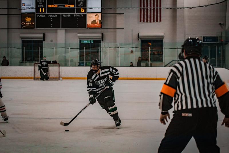 Holy Family Boys Varsity Hockey vs. Elk River, 12/27/19: Bishop Schugel '21 (25)