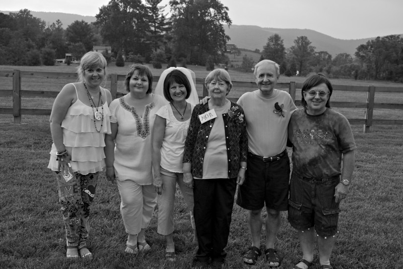 The wedding party...bridesmaid Tammy, maid of honor, Linda, Bride, Connie, Mother of the Bride, Doris, Groom, Dick, Best Man, Terry.