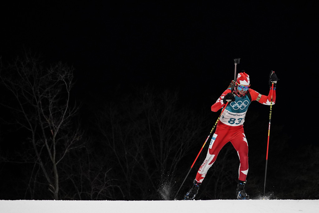 . Brendan Green, of Canada, competes during the men\'s 10-kilometer biathlon sprint at the 2018 Winter Olympics in Pyeongchang, South Korea, Sunday, Feb. 11, 2018. (AP Photo/Felipe Dana)