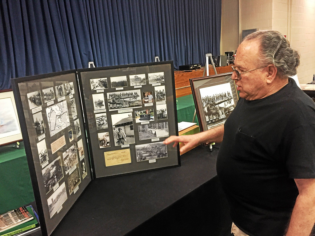 . Bob Frieden showcases World War II memorabilia at the 2017 Militaria Collectors Show on at Lakeland Community College in Kirtland. The show returns March 23 and 24. For more information, visit www.lakelandcc.edu/web/about/military-collectors-show.  (Tawana Roberts � The News-Herald)