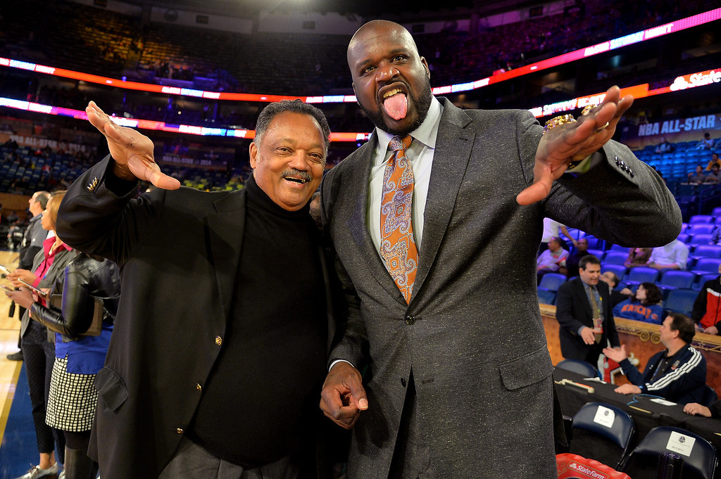 . NEW ORLEANS, LA - FEBRUARY 15:  Reverend Jesse Jackson (L) and Shaquille O\'Neal attend the State Farm All-Star Saturday Night during the NBA All-Star Weekend 2014 at The Smoothie King Center on February 15, 2014 in New Orleans, Louisiana.  (Photo by Mike Coppola/Getty Images)