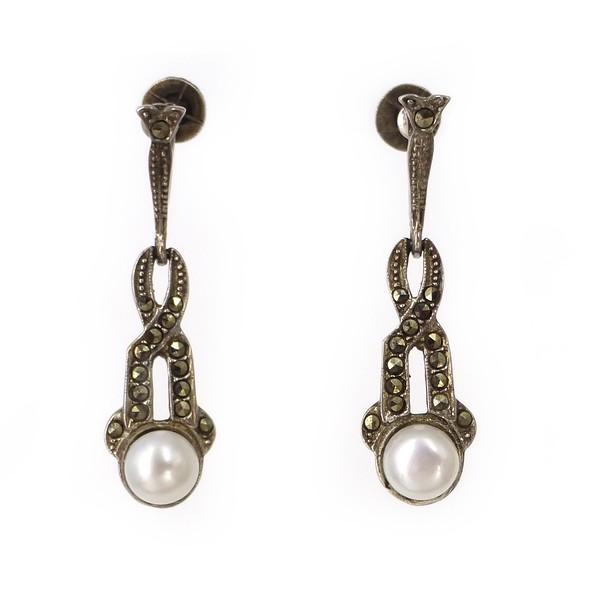 Antique Art Deco Silver Marcasite Pearl Drop Screw Back Earrings