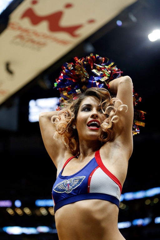 . New Orleans Pelicans cheerleaders perform in the second half of an NBA basketball game against the Cleveland Cavaliers in New Orleans, Saturday, Oct. 28, 2017. The Pelicans won 123-101. (AP Photo/Gerald Herbert)