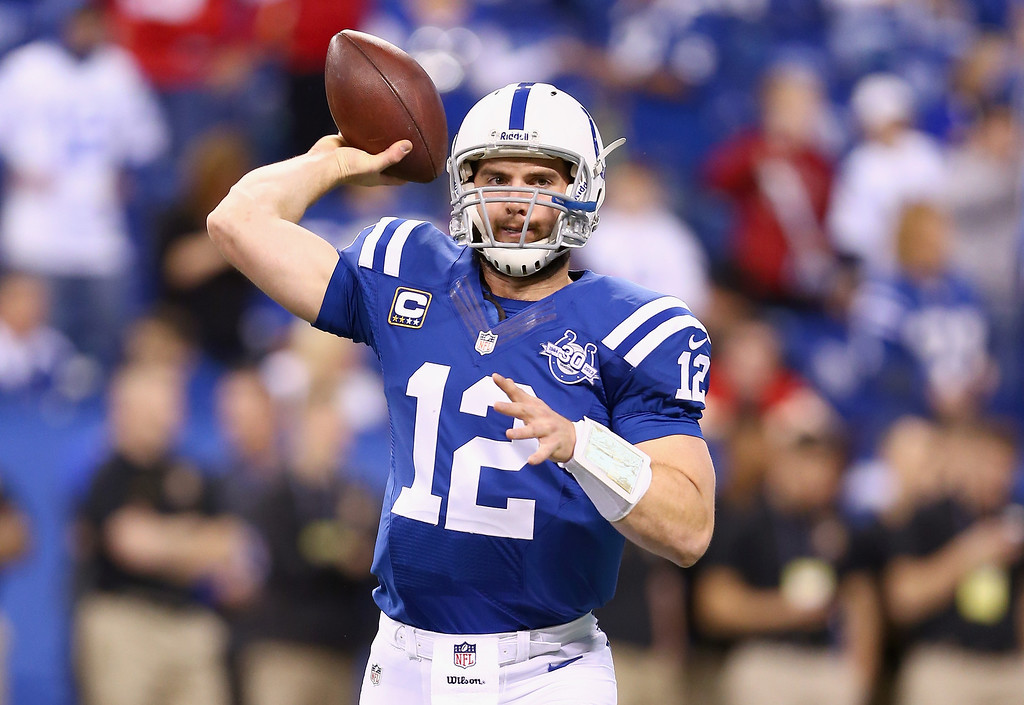 . INDIANAPOLIS, IN - JANUARY 04:  Andrew Luck #12 of the Indianapolis Colts throws a pass before the NFL Wild Card Playoff game against the Kansas City Chiefs at Lucas Oil Stadium on January 4, 2014 in Indianapolis, Indiana.  (Photo by Andy Lyons/Getty Images)