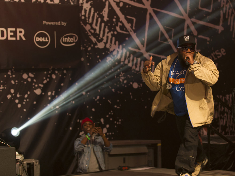 . Just Blaze and freeway perform at the Fader Fort stage during SXSW early in the morning on Wednesday, March 13, 2013. (AP Photo/Austin American-Statesman, Ricardo B. Brazziell)