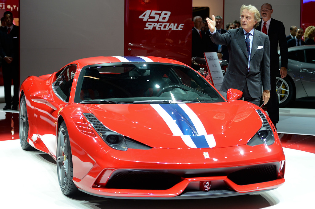 . Ferrari president Luca Cordero di Montezemolo presents the new Ferrari 458 Speciale at the IAA International Automobile Exhibition on September 10, 2013 in Frankfurt, Germany. The world\'s biggest motor show, the IAA, is running from September 12 to 22, 2013.   (Photo by Thomas Lohnes/Getty Images)