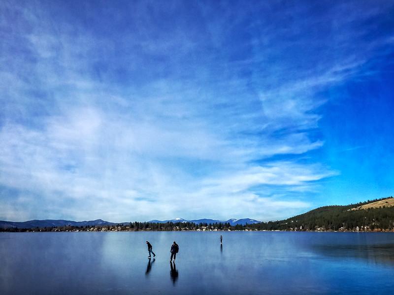 Ice Skating, Dreamwood Bay, Liberty Lake, Washington