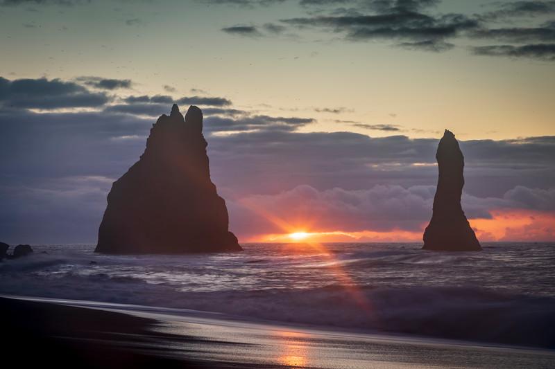 Sunrise at Vik Sea Stacks, Black Beach