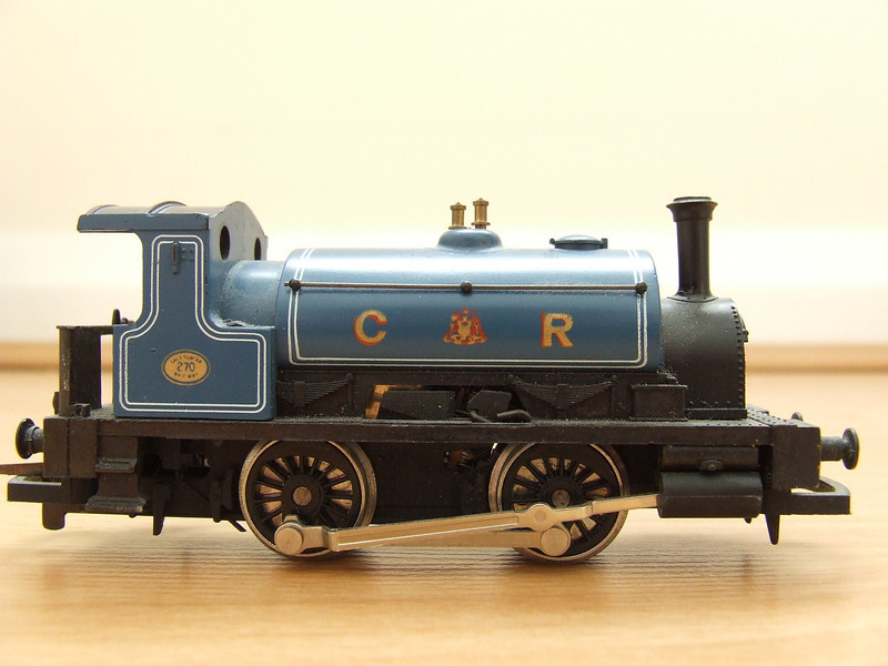 270. Hornby model of CR 270, owned for over 30 years! A Drummond 264 Class 0-4-0ST Pug, it was built for the Caledonian Railway in 1885, it became LMS 16011 on grouping and 56011 by BR at nationalisation. It was classed by LMS as Class 0F. It was withdrawn at Inverness in 1959 and scrapped in the same year at Kilmarnock Works