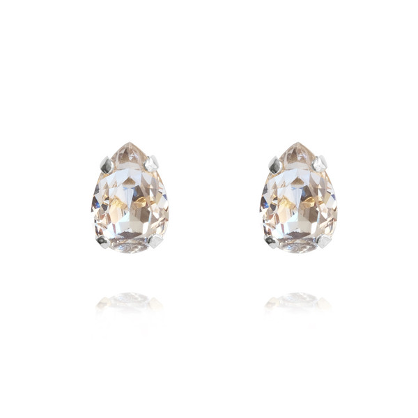 Petite Drop Stud Earrings / Crystal Rhodium