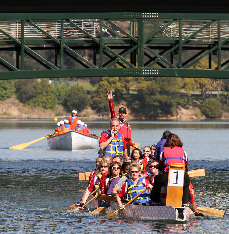 . The dragon boat is one of the many boats that joined the celebration of the re-opening of a 750-foot section of the  Lake Merritt Channel in Oakland, Calif., on Friday, Feb. 22, 2013. The new 100-foot-wide free flowing tidal channel, for the first time since 1869, allows boats to travel from the Lake Merritt Channel to Lake Merritt . This is the first of a series of projects that will eventually connect Lake Merritt to the Oakland Estuary. (Laura A. Oda/Staff)