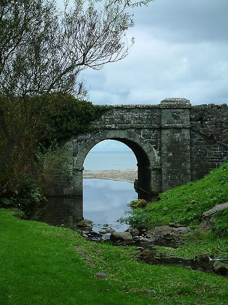 Ballygally - Irish sea beyond the highway