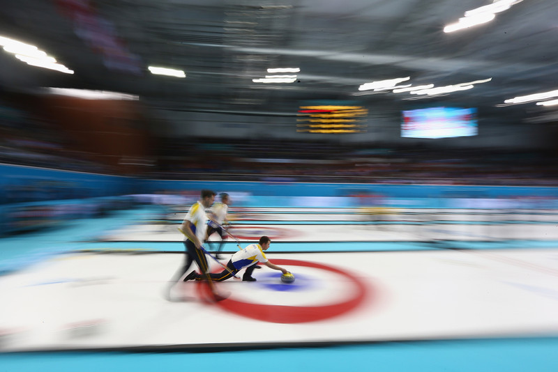 . Team Sweden competes in the men\'s round robin session against Russia during day four of the Sochi 2014 Winter Olympics at Ice Cube Curling Center on February 11, 2014 in Sochi, Russia.  (Photo by Streeter Lecka/Getty Images)