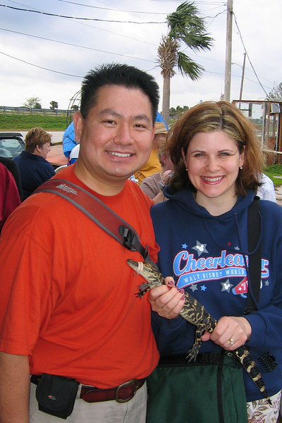 Cly & Darcie after an airboat tour of a swamp.  Darcie is holding a baby alligator.