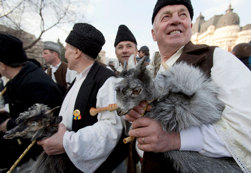 . Romanian traditional musicians, from the central Vrancea region, hold bagpipes covered in goat skins while marching in a St. Patrick\'s Day celebration in Bucharest, Romania on Sunday, March 17, 2013. (AP Photo/Vadim Ghirda)