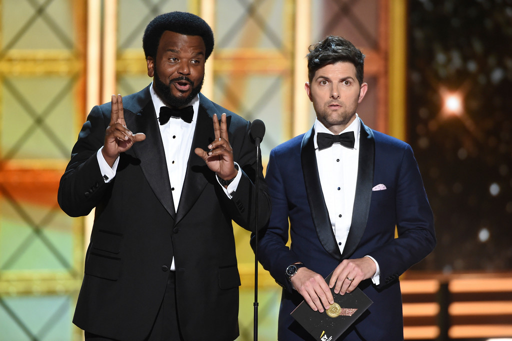 . Craig Robinson, left, and Adam Scott speak at the 69th Primetime Emmy Awards on Sunday, Sept. 17, 2017, at the Microsoft Theater in Los Angeles. (Photo by Phil McCarten/Invision for the Television Academy/AP Images)