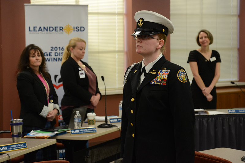 Cadet Senior Chief Petty Officer Becky Kirby of the Lone Star Company Navy Junior ROTC at Vista Ridge High School led the Pledge of Allegiance.