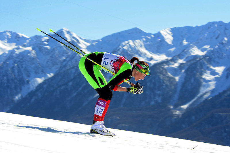 . Alena Sannikova of Belarus competes in the Women\'s 10 km Classic during day six of the Sochi 2014 Winter Olympics at Laura Cross-country Ski & Biathlon Center on February 13, 2014 in Sochi, Russia.  (Photo by Harry How/Getty Images)