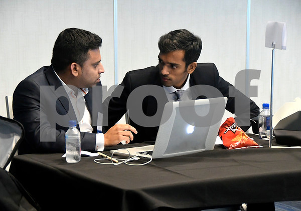 11/16/2017 Mike Orazzi | Staff Sajiv Francis and Lalith Kumar while working on a coding presentation during the 2017 College Tech Challenge Final featuring the best computer and engineering students from colleges and universities all over CT held at the DoubleTree by Hilton Hotel in Bristol Thursday.