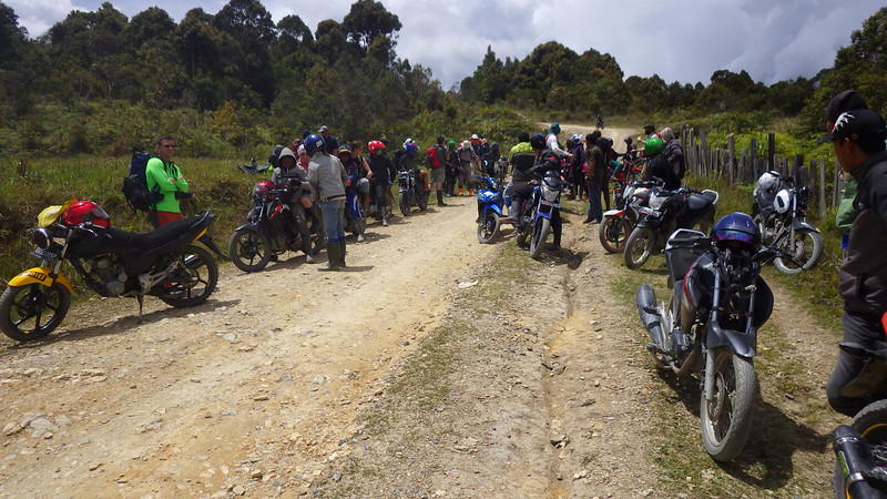 For about 1 mile or 1,5km on dirt road we used motorcycles.