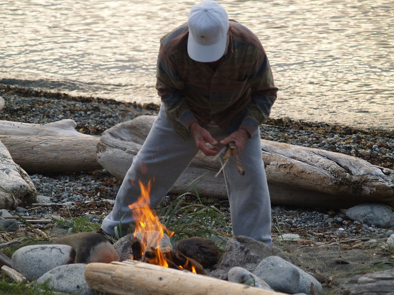 Here's David working on our beach campfire