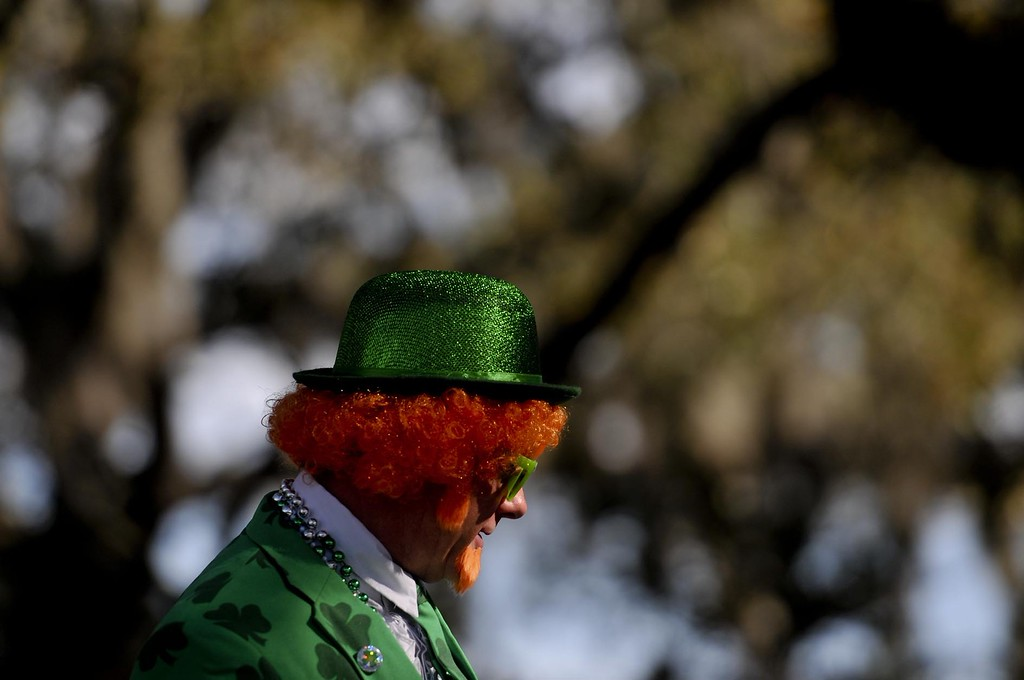 . Paul Kreuze, of Buffalo, NY, wears a leprechaun outfit while waiting for the start of the St. Patrick\'s Day Parade in Savannah, Ga., Tuesday, March 17, 2015. (AP Photo/Savannah Morning News, Ian Maule)