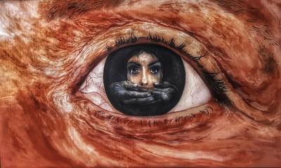 """Child Abuse Victim (The fear last forever)"" (acrylic on canvas) by Nilanjana Sarma"