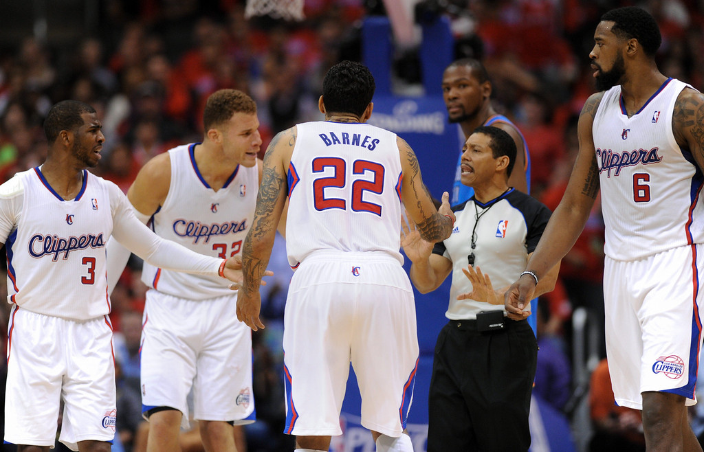 . Clippers don\'t like a call by the referee. (Photo by Michael Owen Baker/Los Angeles Daily News)