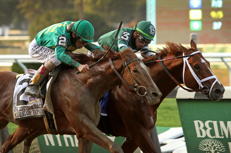 Code of Honor (Noble Mission) and jockey John Velazquez win the Jockey Club Gold Cup (Gr I) via disqualification at Belmont Park 9/28/19. Trainer: Shug McGaughey. Owner: W.S. Farish