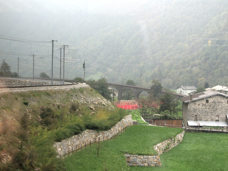 Approaching the Brusio Viaduct