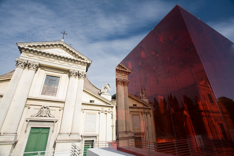 San Rocco facade in front of Valentino's red cube from Ara Pacis museum