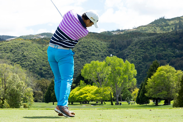 Chan Tuck Soon from Malaysia hitting the ball off the 1st tee on the 2nd day of competition  in the Asia-Pacific Amateur Championship tournament 2017 held at Royal Wellington Golf Club, in Heretaunga, Upper Hutt, New Zealand from 26 - 29 October 2017. Copyright John Mathews 2017.   www.megasportmedia.co.nz