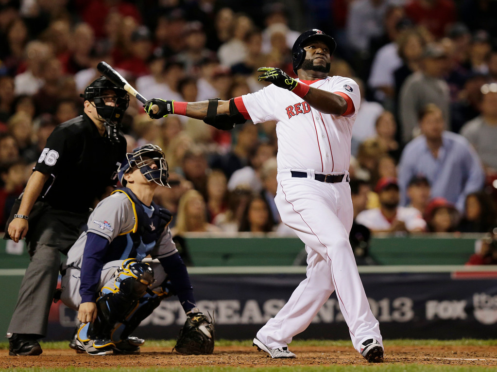. Boston Red Sox designated hitter David Ortiz watches his second home run of the game off Tampa Bay Rays starting pitcher David Price, in front of Rays catcher Jose Molina in the eighth inning in Game 2 of baseball\'s American League division series Saturday, Oct. 5, 2013, in Boston.  (AP Photo/Charles Krupa)