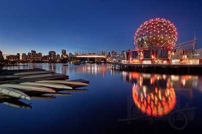 Science World and Vancouver skyline. Vancouver, BC.