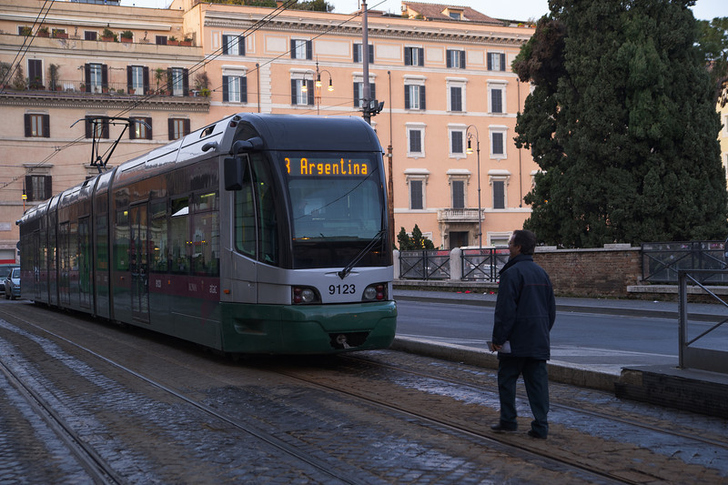 A man and a tram, Rome, Italy, February 2009