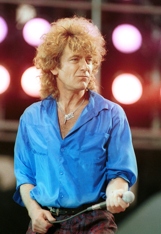 . Robert Plant performs for a sold out crowd at the Live Aid concert at JFK Stadium in Philadelphia, Pennsylvania, July 13, 1985. Photo by Frank Micelotta/ImageDirect.
