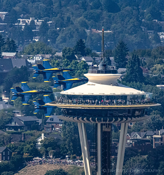 Blue Angels zoom past the Space Needle
