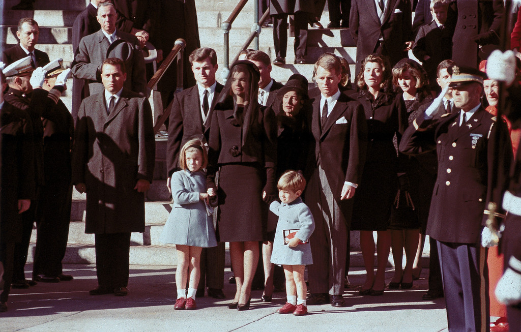 . The First Family watches John F. Kennedy\'s funeral procession in Washington on Nov. 25, 1963, three days after the president was assassinated in Dallas. Widow Jacqueline Kennedy, center, daughter Caroline Kennedy, left, and son John Jr., are accompanied by the late president\'s brothers Sen. Edward Kennedy, left, and Attorney General Robert Kennedy.  (AP Photo)