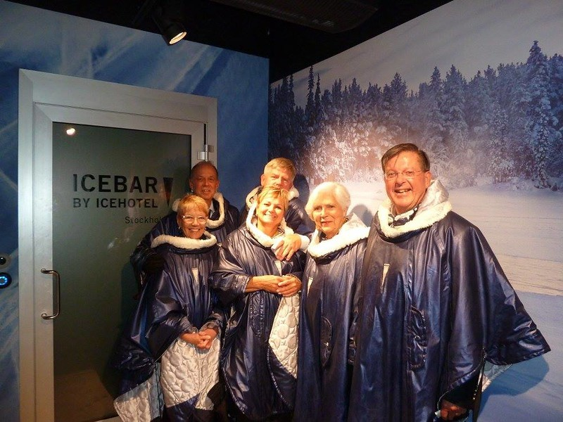 Michael McCrory and Jody McCrory, Ed O'Brien and Susan Machado, and Gill High and Susan High enjoy the Ice Bar - Michael McCrory