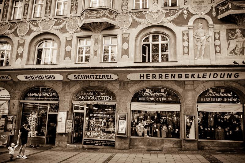 The beautiful shop façade at Rindermarkt.