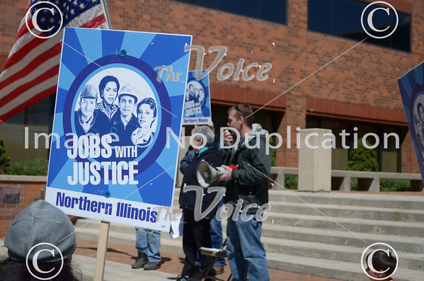 Northern Illinois Jobs with Justice March Labor statistics report and ATMI Rally in downtown Aurora, IL 4-6-12