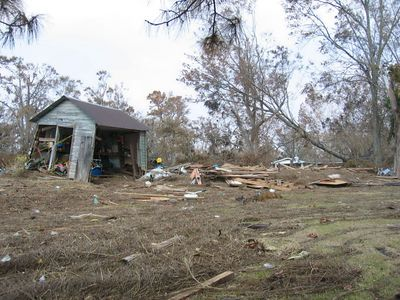Damage to our nephew's home and yard in Moss Point MS