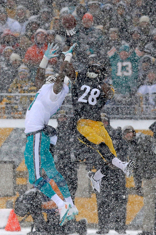 . Pittsburgh Steelers cornerback Cortez Allen (28) breaks up a pass intended for Miami Dolphins wide receiver Mike Wallace (11) during the first half of an NFL football game in Pittsburgh, Sunday, Dec. 8, 2013. (AP Photo/Tom E. Puskar)