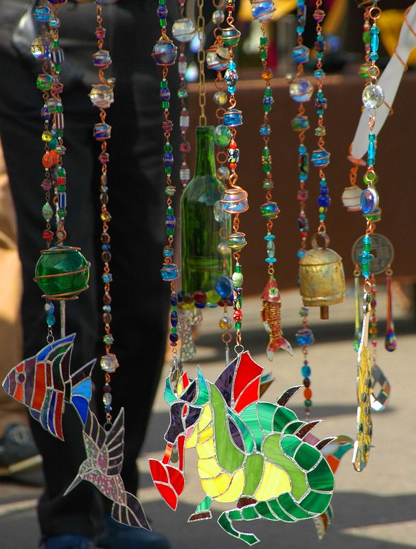 Wind chimes sold in Old Town San Diego by street vendors