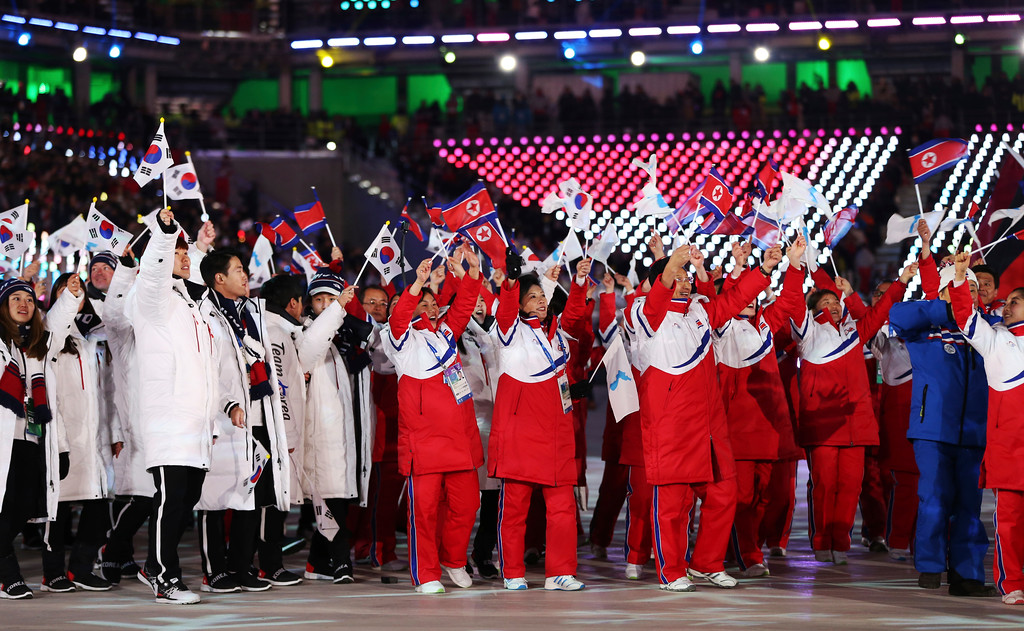 . North and South Koreans walk in the stadium during the closing ceremony of the 2018 Winter Olympics in Pyeongchang, South Korea, Sunday, Feb. 25, 2018. (AP Photo/Natacha Pisarenko)