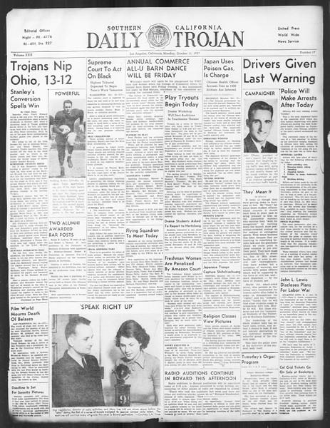 Daily Trojan, Vol. 29, No. 17, October 11, 1937