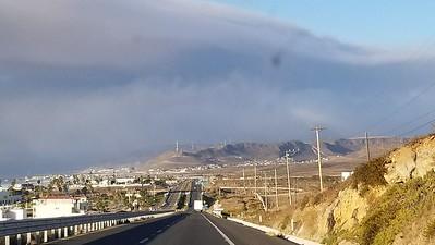 Large fire near Valle de Las Palmas and burning at CREBC radio site Cerro Bola
